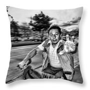 Unknown Bicycle Rider Throw Pillow