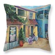 Street Scene In Belize Throw Pillow by Karen Ahuja