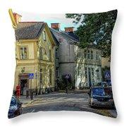 Street Scene In Strangnas Throw Pillow
