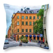 Drottninggatan Street Scene  Throw Pillow