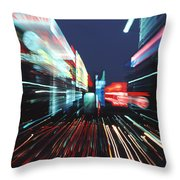 Street Scene In Tokyos Ginza District Throw Pillow