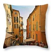 Street Scene In Villefranche Throw Pillow