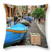 Street Scene Manarola Italy Dsc02634 Throw Pillow