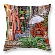 Street Scene Monterosso Italy Dsc02470 Throw Pillow