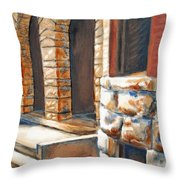 Street Scene Oil Painting Throw Pillow