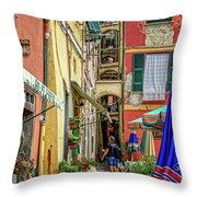 Street Scene Vernazza Italy Dsc02651 Throw Pillow
