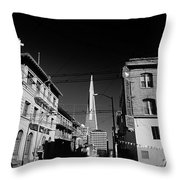 Street Scene With Transamerica Pyramid From Chinatown  Throw Pillow