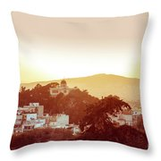 Street View Of Old Buildings In Athens, Greece Throw Pillow