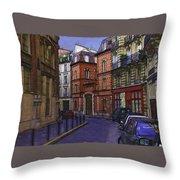 Street View Of Paris Throw Pillow