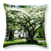 Street With Dogwood Throw Pillow