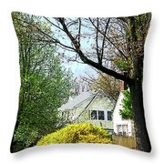 Street With Forsythia Throw Pillow