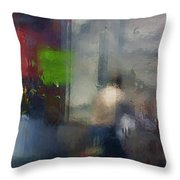 Street With Motorcyclist.  Throw Pillow
