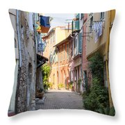 Street With Sunshine In Villefranche-sur-mer Throw Pillow