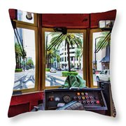 Streetcar Interior New Orleans  Throw Pillow