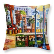 Streetcar On Canal Street Throw Pillow