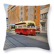 Streetcar On Carlton Circa 1970 Throw Pillow