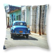 Streetlife With Car In Trinidad, Cuba Throw Pillow
