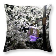 Streetlights In Blossoms Throw Pillow
