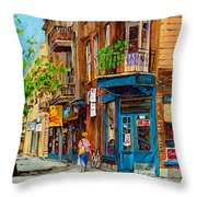 Streets Of Montreal Over 500 Prints Available By Montreal Cityscene Specialist Carole Spandau Throw Pillow