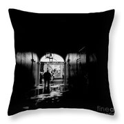 Streets Of New Orleans Black  Throw Pillow