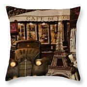Streets Of Paris Throw Pillow