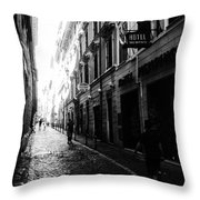 Streets Of Rome 2 Black And White Throw Pillow