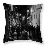 Streets Of Rome At Night  Throw Pillow
