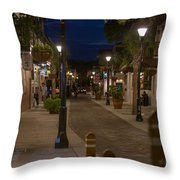 Streets Of St. Augustine At Night Throw Pillow
