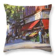 Streetscape With Red Awning - 82nd Street Market Throw Pillow