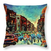 Streetscenes Of Montreal Hockey Paintings By Montreal Cityscene Specialist Carole Spandau Throw Pillow