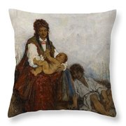 Streitt, Franciszek 1839 Brody - 1890  Rest On The Field. 1875. Throw Pillow