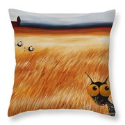 Stressie Cat And Crows In The Hay Fields Throw Pillow