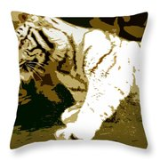 Striking Tiger Throw Pillow