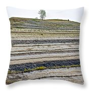 Striped Bank On Side Of A Road In Northwest North Dakota Throw Pillow