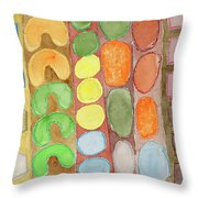 Striped Colorful Pattern With Croissants  Throw Pillow