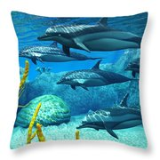 Striped Dolphins Throw Pillow