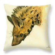 Striped Hyena Animal Art Throw Pillow