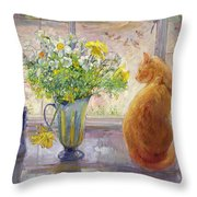 Striped Jug With Spring Flowers Throw Pillow