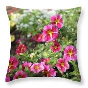Striped Petunias Throw Pillow