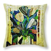 Striped Tulips At The Old Apartment Throw Pillow