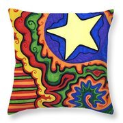 Stripes And Star Throw Pillow
