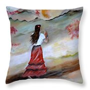 Strollin Senorita Throw Pillow