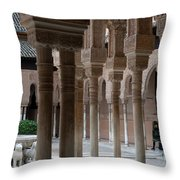 Strolling The Courtyard Of The Lions Throw Pillow