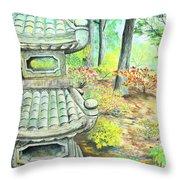 Strolling Through The Japanese Garden Throw Pillow