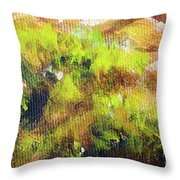 Structure Of Wooden Log Covered With Moss, Closeup Painting Detail. Throw Pillow