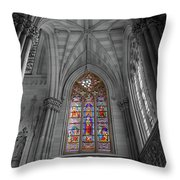 Structures Of St. Patrick Cathedral Bw Throw Pillow