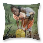 Struggle For Water Throw Pillow