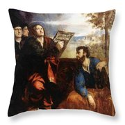 Sts John And Bartholomew With Donors 1527 Throw Pillow