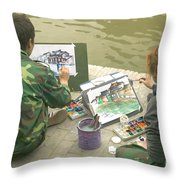 Students Painting, China Throw Pillow