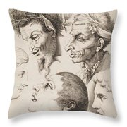 Studies Of Heads Anonimo, Blooteling Abraham Throw Pillow